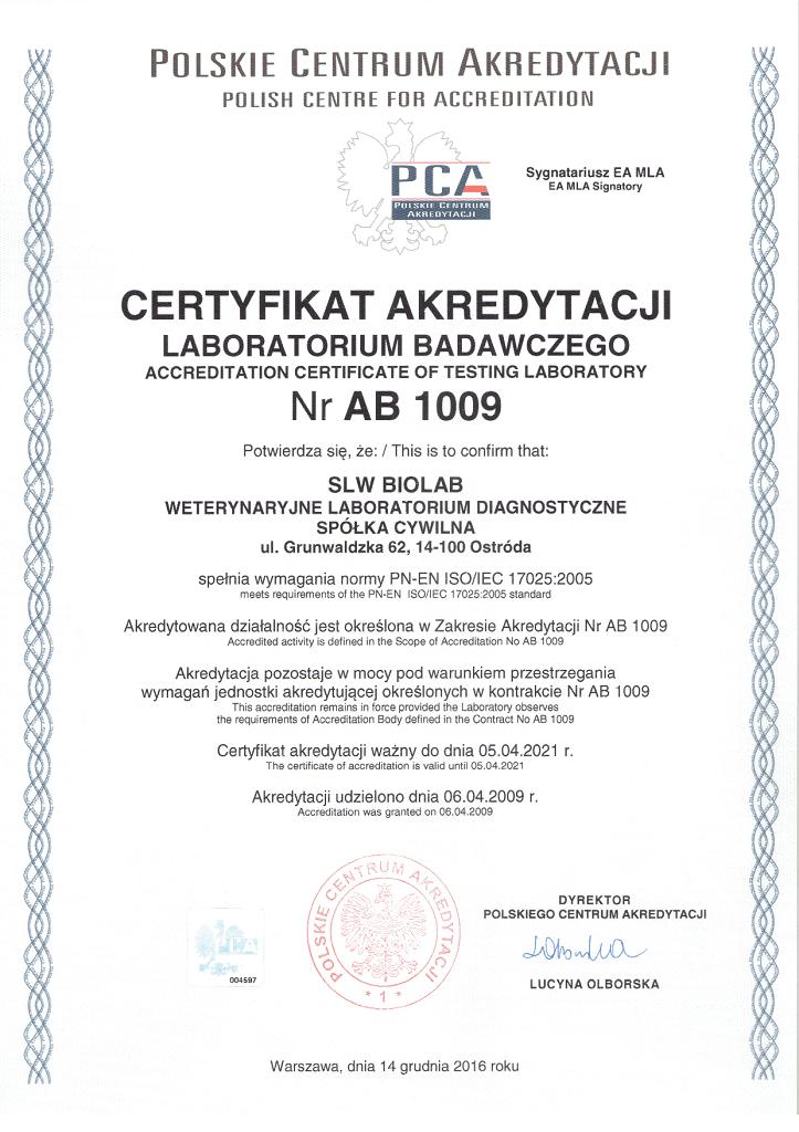 Certyfikat akredytacji 1009